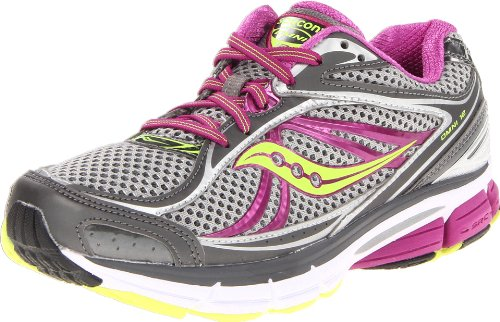 Saucony Women's Omni 12 Running Shoe,Grey/Purple/Citron,8 M US