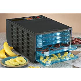 Black 6 Tray Food Dehydrator by SVP by Food Drying Books