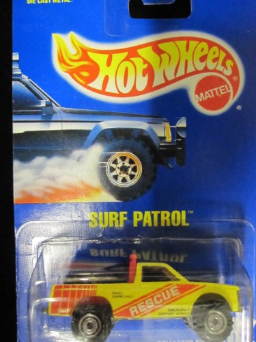 Surf Patrol (Rescue Pick-up Truck) 1991 Hot Wheels #102 Yellow with Construction Wheels on Solid Blue Card