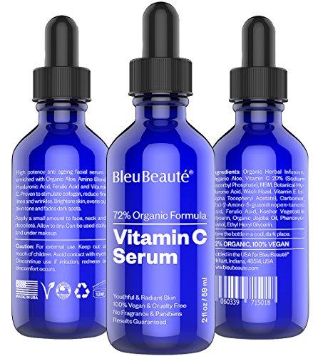 BIG - 2 oz Vitamin C Serum (20%) by Bleu Beauté - High potency anti aging facial serum - IT WORKS OR YOUR MONEY-BACK!