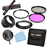 K&F Concept 52mm 3pcs UV CPL FLD Lens Accessory Filter Kit UV Protector Circular Polarizing Filter for Canon 7D 60D 70D 500D for Nikon D5300 D5200 D5100 D3300 D3200 D3100 DSLR Cameras + Al-52mm Reverse Adapter Ring + Microfiber Lens Cleaning Cloth + Clea