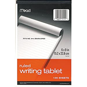 """Mead 70102 6"""" x 9"""" 100-Sheet White Ruled Writing Tablet Notepad - 6 Pack"""
