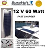 !! Solar Charger SALE for Dad's Day !! - 12 Volt solar charger - DuraVolt - 60.0 Watt 12V Solar Charger - Plug & Play - for Trolling Motors, Boats, Rv, Marine - Semi Flexible size: 49.6