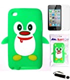 BUKIT CELL Apple iPod Touch 4th Generation Penguin Silicone Case (Green with Cute Red Scarf) + FREE Screen Protector + Free WirelessGeeks247 Metallic Detachable Touch Screen STYLUS PEN with Anti Dust Plug
