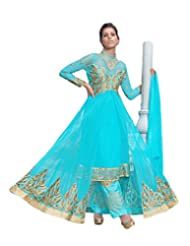 Surat Tex Womens Semi-Stitched Georgette Salwar Suit (E355Dl5003Vo_Sky Blue)