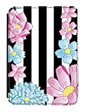 Disguised® Flowers & Stripes Design Kindle Paperwhite PU Leather Flip Case Cover Designed by Katie Reed