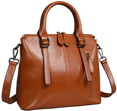Image of Heshe Women's Handbags Stuctured Shoulder Tote Cross Body Bags Purses for Ladies (Brown-R)