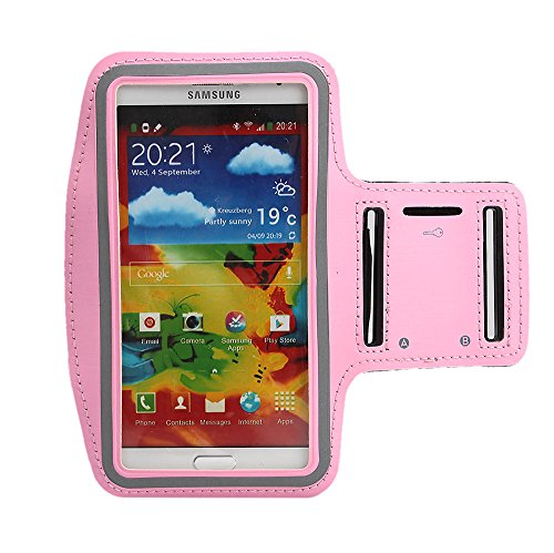 Boriyuan New Adjustable Gym Jogging Running Pu Leather Sport Armband Protective Case With Key Earphone Holder Slot For Samsung Galaxy Note 3 Iii N9000 N9002 N9005 With A Free Stylus Touch Screen Pen (Pink)