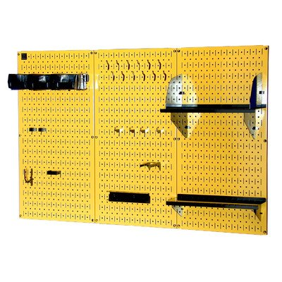 Wall Control 4ft Metal Pegboard Standard Tool Storage Kit - Yellow Toolboard & Black Accessories