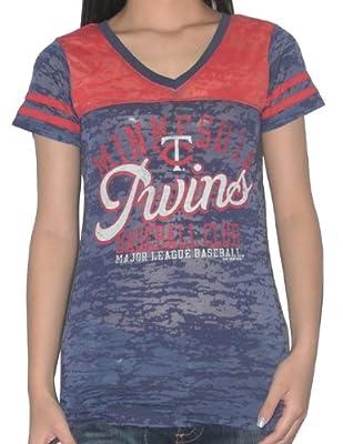 MLB Minnesota Twins Womens V-Neck T-Shirt (Vintage Look)