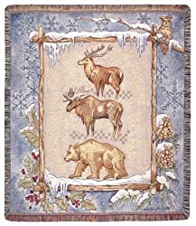 Elk Moose Bear Winter Scene Tapestry Throw 50&quot; x 60&quot;