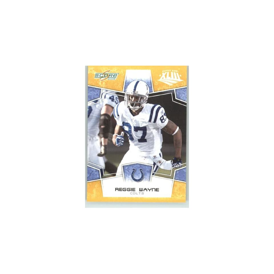 2008 Donruss / Score Limited Edition Super Bowl XLIII Gold Border # 130 Reggie Wayne   Indianapolis Colts   NFL Trading Card in a Prorective Screw Down Display Case