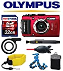 Olympus Stylus TG-3 TG3 T-G3 iHS (Red) w/ Olympus LED Light Guide (LG-1), Floating Strap, Case, 32GB Accessory Kit