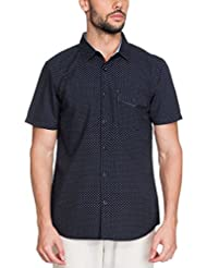 Zovi Men's Cotton Slim Fit Casual Blue Printed Shirt With Buttoned Pocket (11947700801)