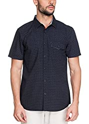 Zovi Cotton Slim Fit Casual Blue Printed Shirt with Buttoned Pocket(11947700801_Small)