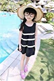 TheTickleToe Kids Girls Black Dress with White Stripes Cotton Summer Party 4-5 Years