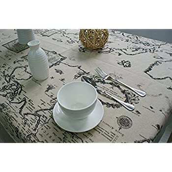 Kingmerlina Cotton Linen Rectangle Map Print Vintage Tablecloth Multi Size