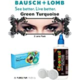 Natural Look Quarterly GreenTurquoise Color Zeropower Colorered Contact Lens With Free Cleanzol Lens Care Kit...