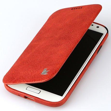 日本正規代理店品 JISONCASE 本革 ビンテージレザー サイド フリップ ケース for Galaxy S4 全3色 JS-SM4-05A レッド