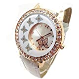 Women Butterfly Pattern Crystal Quartz Wrist Watch White