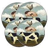 Hallmark Licensing, Inc 5042HMK Cow Pig Rooster 4-Piece Round Burner Kover Set Reviews