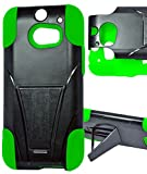 myLife Zombie Green + Black {Layered Design} Two Piece Neo Hybrid (Shockproof Kickstand) Case for the All-New HTC One M8 Android Smartphone - AKA, 2nd Gen HTC One (External Hard Fit Armor With Built in Kick Stand + Internal Soft Silicone Rubberized Flex Gel Full Body Bumper Guard)
