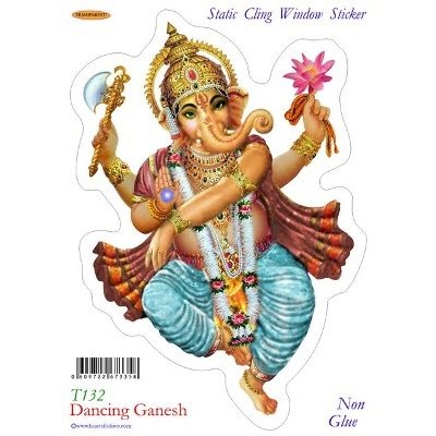 Dancing Ganesh Static Cling Window Stickers