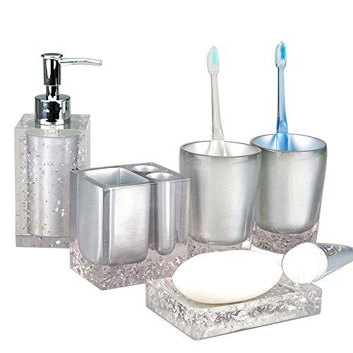 Resin Soap Dish, Soap Dispenser, Toothbrush Holder & Tumbler Bathroom Accessory 5 Piece Set