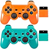 2 Pack Wireless Controller 2.4G Compatible with Sony Playstation 2 PS2 (Orange+Green)