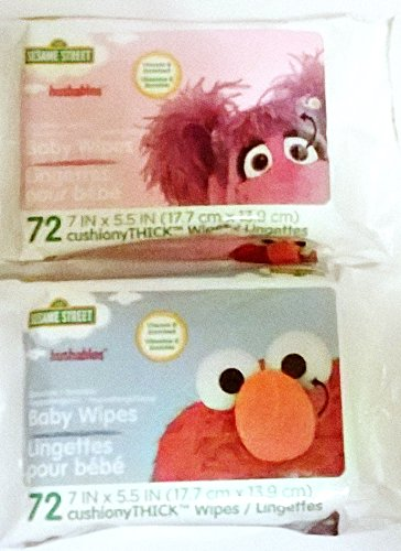 Hushables Sesame Street Sensitive Baby Wipes 72 Count, 2 Pack