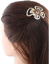 Anuradha Art Black Colour Styled With Brown Colour Stone Hair Accessories Hair Cilp For Women/Girls