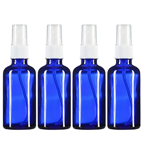 2 oz Empty Spray Bottle Cobalt Blue Boston Round Glass Bottle with White Atomizer - Perfect for Essential Oil Formulas,Aromatherapy and All Natural Cleaning Products (4 Pieces)