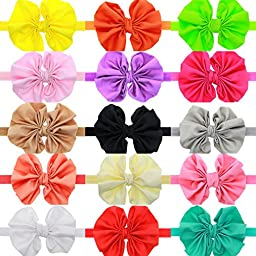 Qandsweet Baby Girls Headbands and Forked Tail Bow Photography (15Pcs Plicated 3-4\