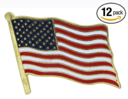 12 American Flag Waving Lapel Pins U.S.A. United