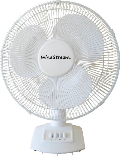 New Windstream 16 Inch Desk Fan, Powerful 50 Watt Motor, White, Easy To Clean Blades, Durable Steel Safety Grill, 1532 Cubic Feet Per Minute, Ul Listed, Thicker Steel And Plastic, Best Quality