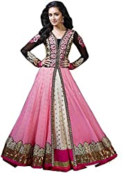 Zbuy Pink Georgette and Net Embroidered Unstitched Salwar Suit Dress Material