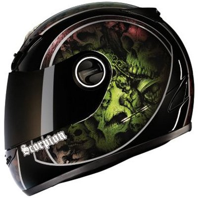Scorpion Skull Bucket EXO-400 Street Bike Motorcycle Helmet - Chameleon / Medium