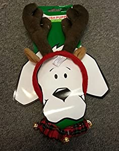 Dog Pet Christmas Antlers & Free Collar ★ Kyjen Plush Puppies ★ All Sizes from KYJEN