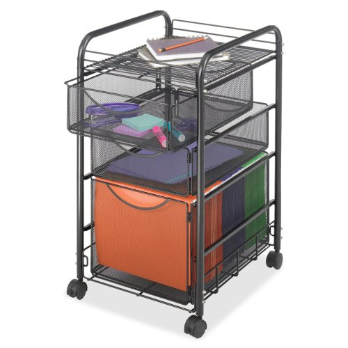 Safco Onyx Mesh File Cart with 1 File Drawer and 2 Small Drawers, Black (5213BL)