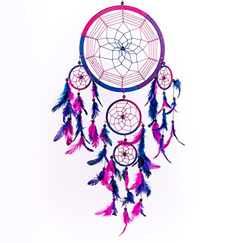 Dream Catcher ~ Handmade Traditional Royal Blue, Pink & Purple 8.5