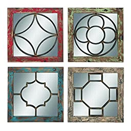 Benzara Mirror, Rustic Finish 4 Assorted Pieces