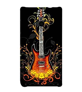 Fire Aaag Floral Guitar 3D Hard Polycarbonate Designer Back Case Cover for Nokia Lumia 535 :: Microsoft Lumia 535
