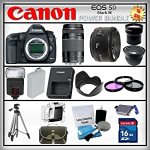 Canon 5D Mark III EOS 22.3MP - Canon EF 75-300mm III f/4-5.6 - Canon EF 50mm f/1.8 - Wide Angle and 2x Telephoto Zoom Lens - 16GB SDHC Memory Card - USB Card Reader - Digital Flash - 1 Spare Battery - Digital Flash - 3 Piece Lens Filter Kit - 53