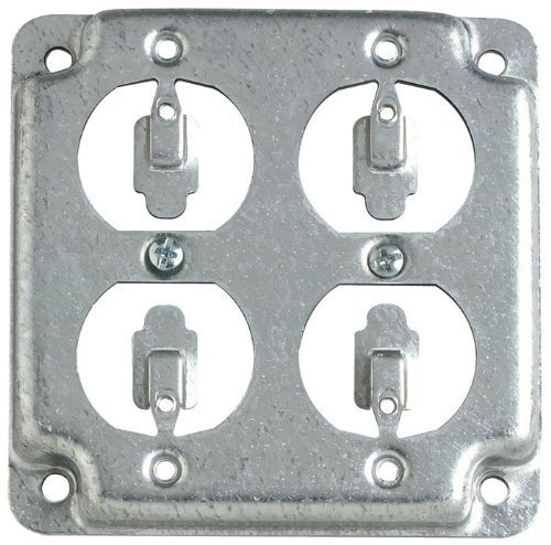 Steel City RS8 Outlet Box Surface Cover, Square, Raised, 4-Inch, Galvanized by Thomas & Betts