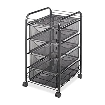 Safco Products Onyx Mesh 4 Drawer Rolling File Cart 5214BL, Black Powder Coat Finish, Durable Steel Mesh Construction, Swivel Wheels For Mobility