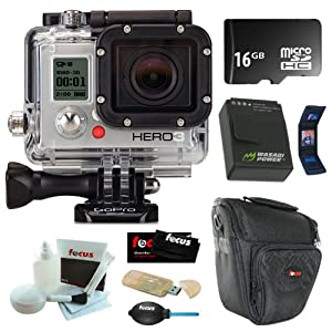GoPro HD HERO3 Black Edition Wi-Fi Video Camera + Wasabi Battery Pack + 16GB Micro SDHC + Carrying Case + Accessory Kit
