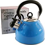 2.5L Stainless Steel Lightweight Whistling Kettle Blue For Gas Electric Hobs New