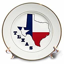 3dRose cp_58725_1 Texas State Flag in The Outline Map & Letters of Texas. Porcelain Plate, 8\