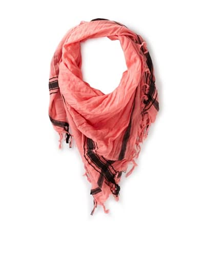 Leigh & Luca Women's Voile Logo Square Scarf with Tassels, Salmon