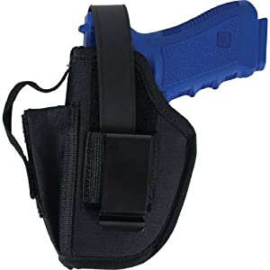 Allen Company Ambidextrous Hip Holster with Mag Pouch fits 4.5 to 5-Inch Large Semi-Autos, Black